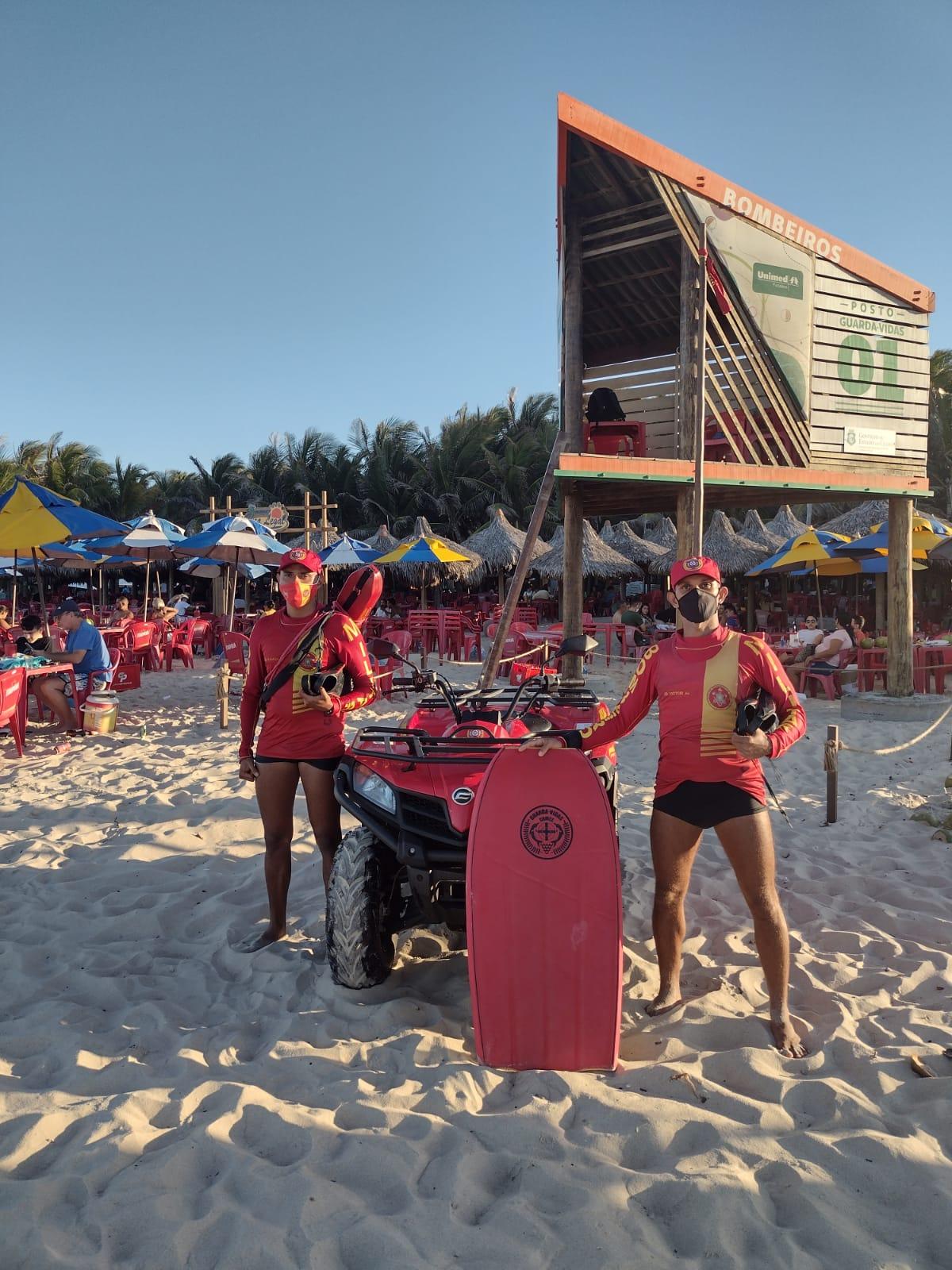 Atuação do Corpo de Bombeiros evita 5 afogamentos em praias de Fortaleza e de Caucaia
