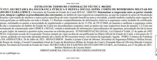 CBMCE e SEFAZ firmam parceria em prol da segurança contra incêndio no Ceará