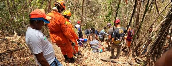 Bombeiros de Maracanaú realizam resgate de vítima em Guaiuba com sucesso